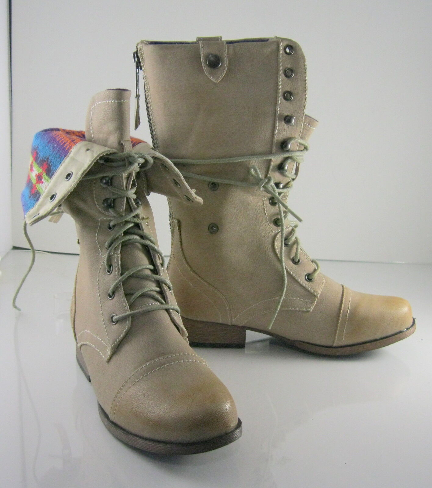 NEW Ivory Ankle Lace Combat Motorcycle Riding Winter Mid-Calf Boot Size 7.5