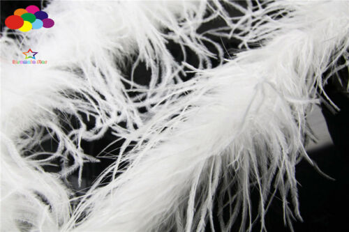 ostrich feather strip Trim boa Dyed white 2M carnival Diy costume headress mask