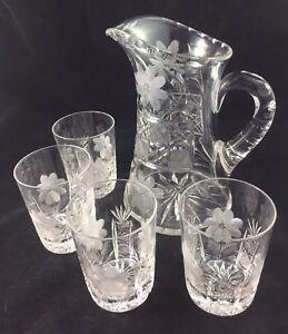 American-Brilliant-Cut-Glass-ABP-Floral-Cane-8-3-4-034-Pitcher-amp-4-Tumblers