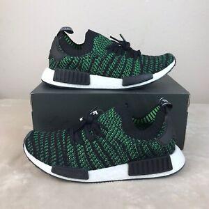 adidas-Mens-Shoes-9-NMD-R1-STLT-PK-Black-Green-Primeknit-ORIGINALS-AQ0936