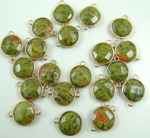 Natural Unakite Faceted pendant Bracelet Charm Connector Gold Connector diy