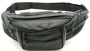 5c7b745d Details about Black Fanny Pack,Cow Pebble Leather Music Festival  Pouch,Travel Hip Belly Bag