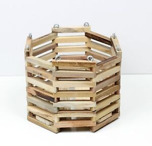 Details About Hanging Wood Orchid Plant Basket Wooden Planter Octagon 8