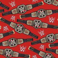 """WWE Logos & Belts World Heavyweight Champion 100% cotton 43"""" fabric by the yard"""
