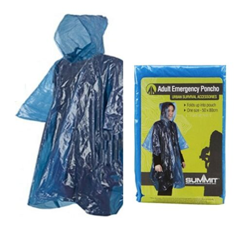 Summit Adult Emergency Waterproof Rain Coat Poncho Hiking Camping Hood Unisex