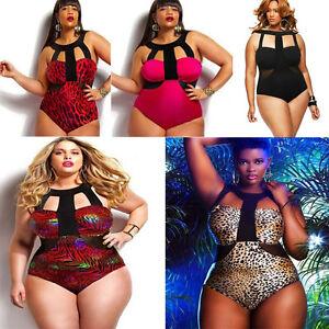 Women-Plus-Size-Push-up-Padded-Bra-Halter-neck-One-piece-Swimwear-Swimsuit-4XL