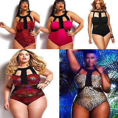 Sexy Women Plus Size Push-up Padded Bra Halter-neck One-piece Swimwear Swimsuit