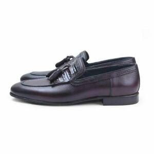 Mocassins en cuir véritable Bordeux & Slip Ons Tassles Chaussures de cérémonie