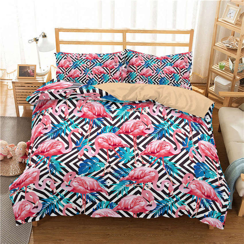 orange Flame Birds bluee 3D Digital Print Bedding Duvet Quilt Cover Pillowcase
