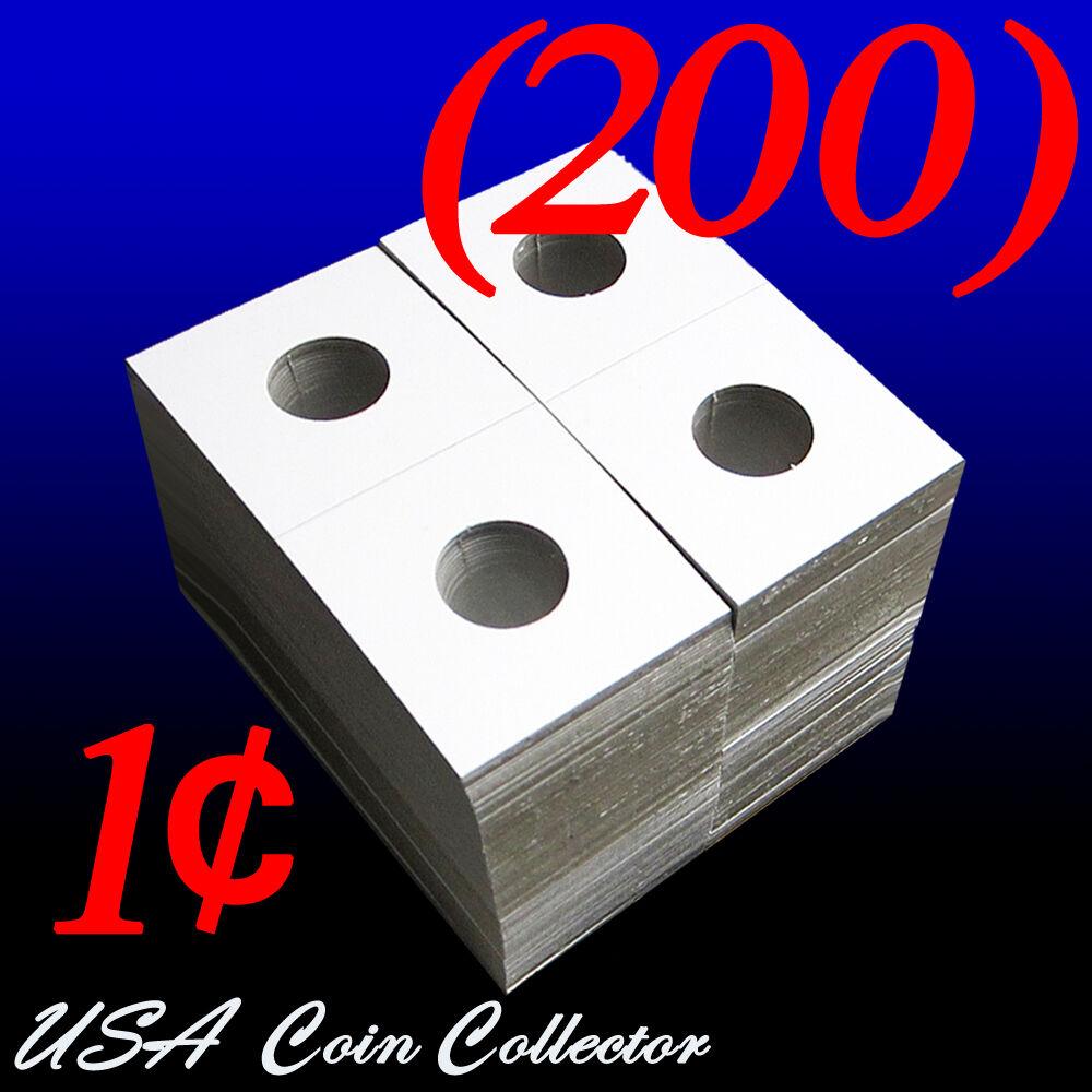 200 2x2 Buffalo Nickel Coin Holder Mylar Cardboard Flip Guardhouse Storage Flips