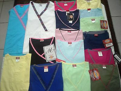 New Dickies Scrub Tops, Lot of 40, Assorted Colors & Sizes (M,L,XL)