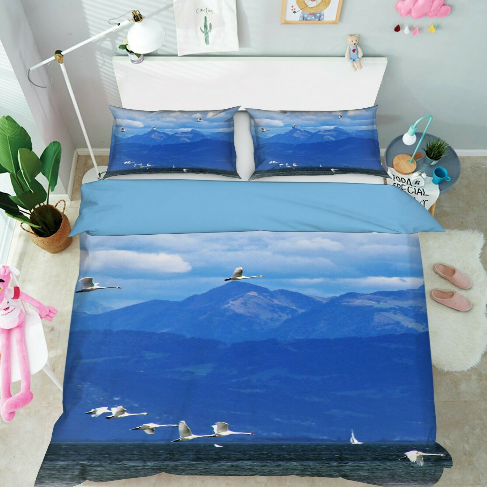 3D Lake Seagull R126 Animal Bed Pillowcases Quilt Duvet Cover Queen King Zoe