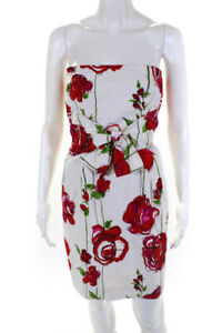 David Meister Womens Floral Print Strapless Dress White Red Cotton Size 2