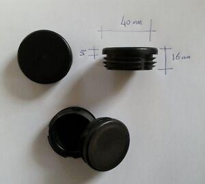 Détails sur 4 Bouchons embouts pour tube rond plastique PVC NOIR diam 40 mm