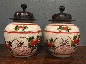 Pair (2) Kutani Seiyo Old Kutani 1654-1663 Reproduction Vases Jars Urns W/Lids