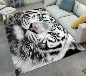 Custom Fashion Home Decorator Area Rug Floor Mat Angry White Tiger ...