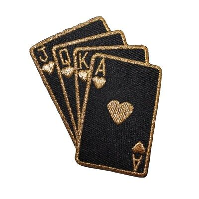 ID 8611 Black Gold Cards Patch Royal Flush Hearts Embroidered Iron On Applique