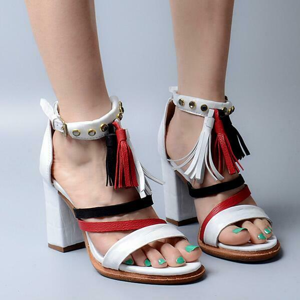 Women's shoes Peep-toe Ankle Strap High Block Heel Leather Sandal Hollow Out New