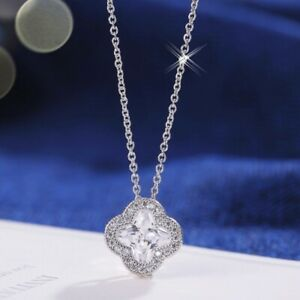 18K-White-Gold-Filled-Simulated-Diamond-Exquisite-Four-Leaf-Clover-Necklace