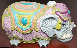 Arnel-039-s-Pottery-India-Parade-Elephant-Hand-Painted-amp-Fired-By-Artist-Anne-Busch