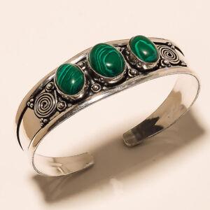 New-Cuff-Bangel-Silver-Plated-Malachite-Gemstone-Handmade-Fashion-jewelry