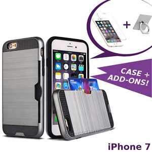 iPhone 7 Case - Hybrid Shockproof Cover with Credit Card Slot + Screen Protector