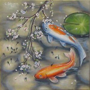 Christiane schwarz fr hling im teich 50x50cm kunst fische for Fische in teich