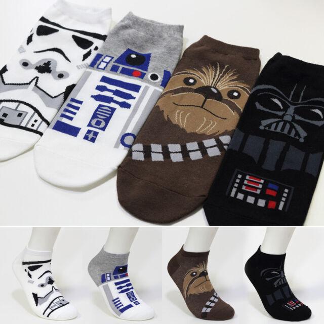 Pack of 4 pairs MEN/'s Star Wars Low Cut Socks Darth Vader Stormtrooper R2-D2..