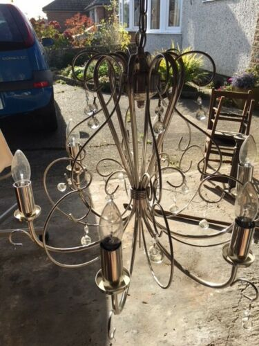Beautiful large, silver, 6 candle chandelier