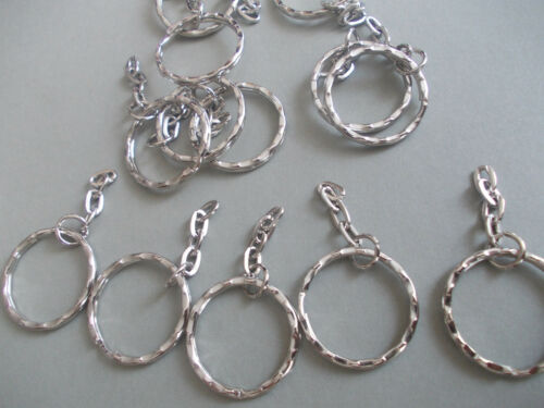 20 X SILVER COLOUR KEY RING CLASPS WITH DANGLY CHAIN,MAKE YOUR OWN KEYRING,