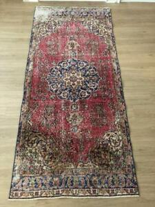 "Vintage Hand Knotted Adroit Turkish Oushak Wool Area Rug 7'3""x 3'3"" Free Shipping!"