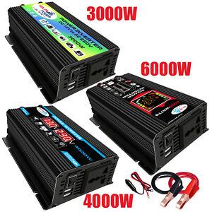 3000/4000/6000W Power 12V DC To 110V/220V AC Car Power Inverter Converter 2 USB