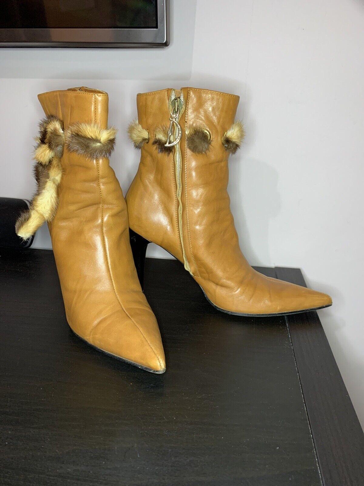 Dibrera By Paolo Zanoli Tan Leather High Heel Boots Uk 3 Eu 36 Made In Italy