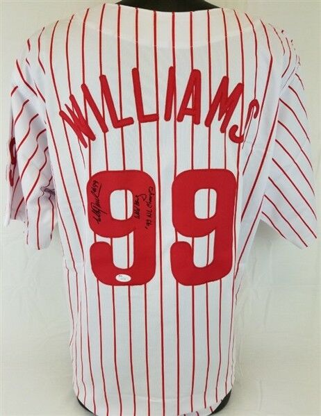 Mitch williams wild thing 93 nl champs  signed phillies pinstrippd jersey (jsa