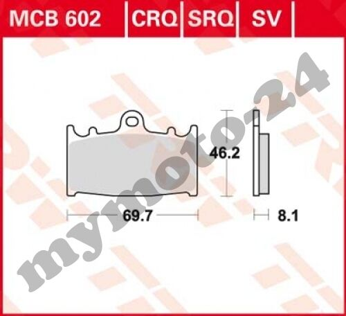 Bremsbelag TRW / Lucas MCB602CRQ, Carbon Hyper Racing ohne ABE