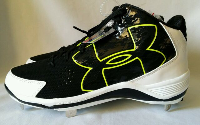 acd975c92f3 Under Armour Ignite Mid St CC Men s Metal Baseball Cleats Black White Neon  11
