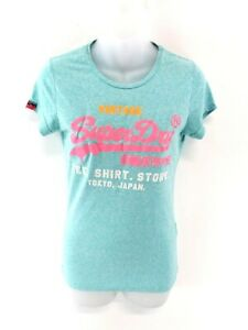 SUPERDRY-Womens-T-Shirt-Top-S-Small-Green-Cotton-Polyester-amp-Viscose