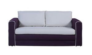 Modern 2 Tone Modular Convertible Sofa Bed Purple