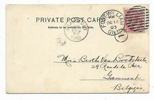 FORT-WILLIAM-ONT-Duplex-Cancel-2-cents-post-card-rate-to-Belguim-Circa-1903