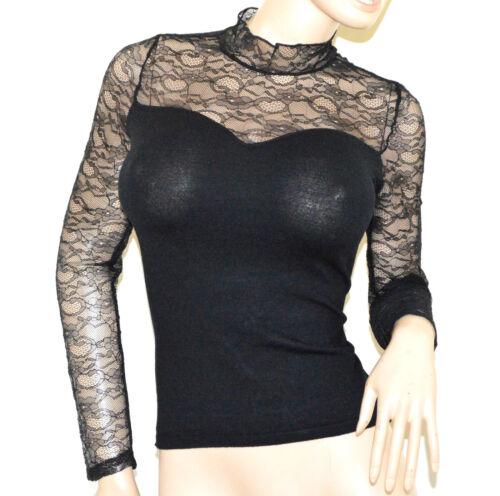 Donna Sottogiacca Manica Maglia Ricamata Lunga Lupetto A43 Pizzo Maglietta Nera YeW9HIED2