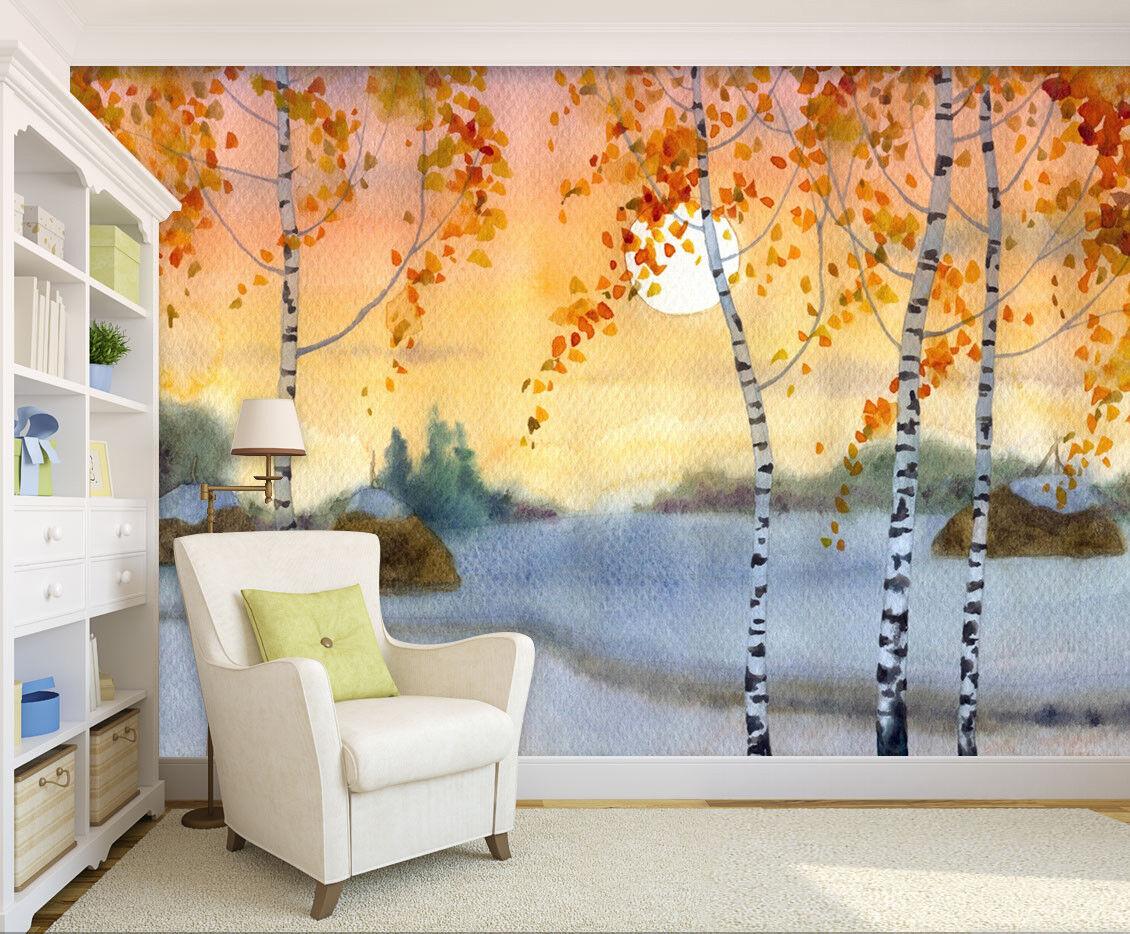 3D Moon Trees 421 Wallpaper Murals Wall Print Wallpaper Mural AJ WALL UK Summer