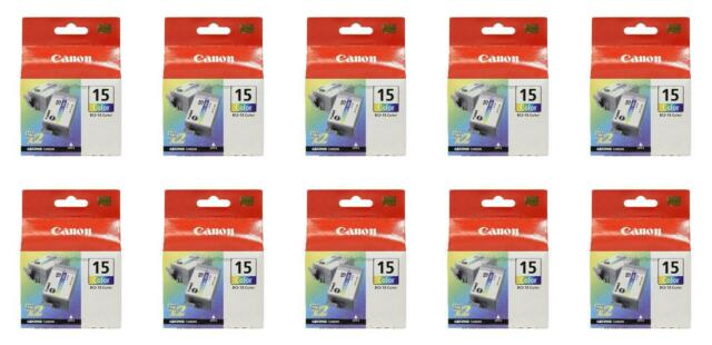 10x Canon BCI-15 Tri-Color Ink Cartridge 8191A003 Genuine New Sealed Box