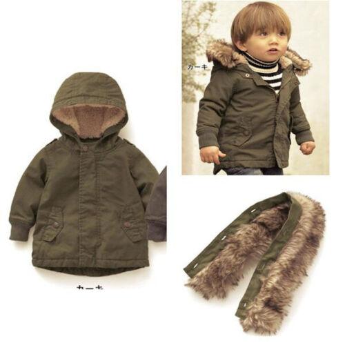 Newborn Boys Severe Wnter Coat Fur Collar Hooded Warm Zipper Outerwear Jacket