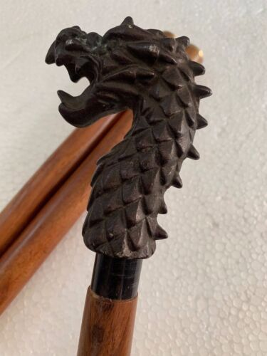 Dragon Head Antique Designer Handle Vintage Style Wooden Walking Stick Cane Gift