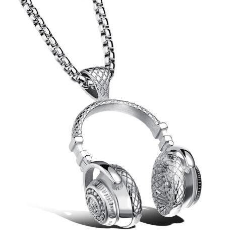 X1100X Herren Damen Halskette Edelstahl Kopfhörer Headset Anhänger 55cm Kette
