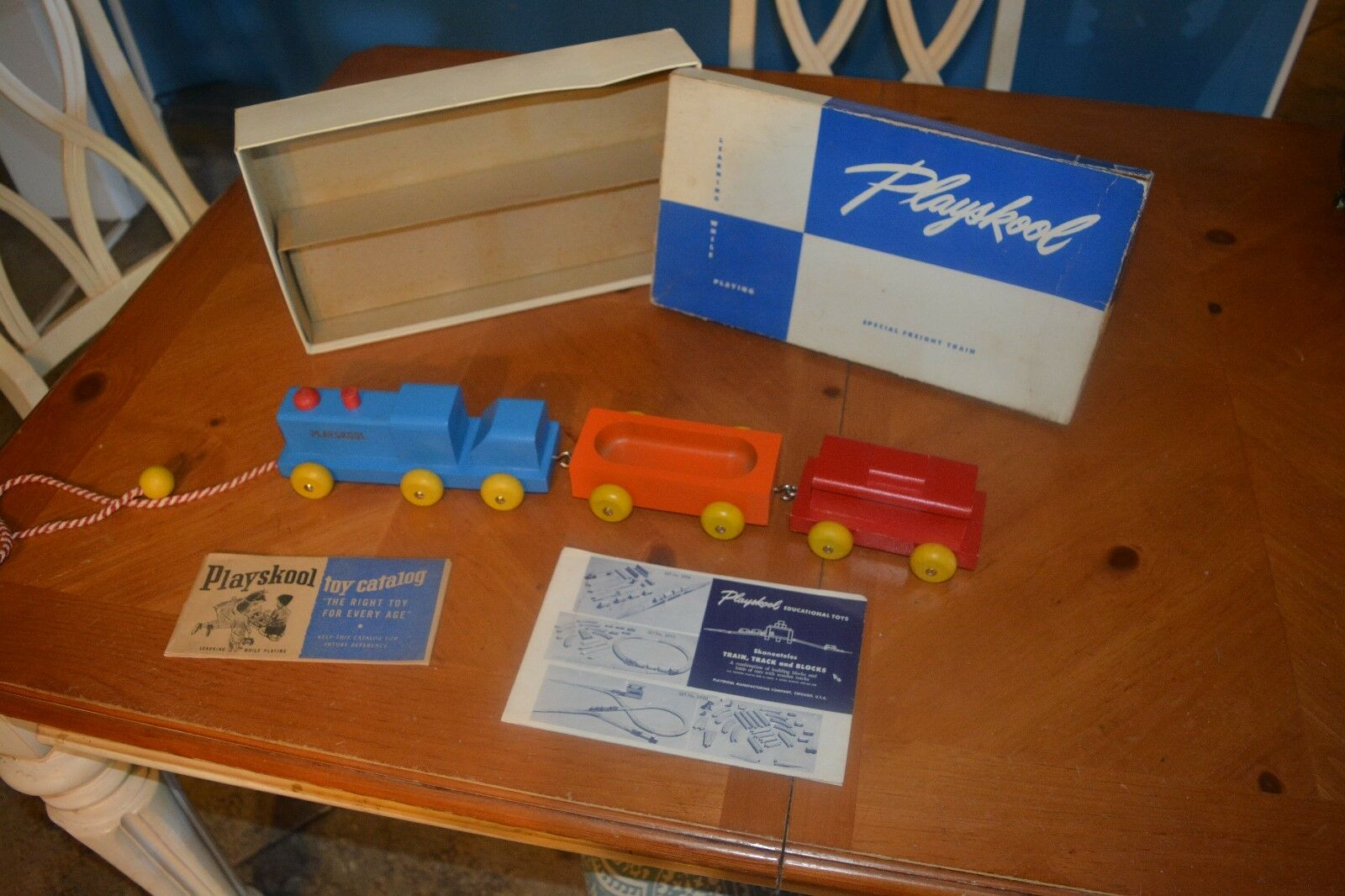 PLAYSKOOL SPECIAL FREIGHT TRAIN   415 WOODEN MISSING verde CAR IN GREAT SHAPE