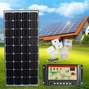 100W-12V-Solar-Panel-Charging-Kit-5m-Cable-10A-Controller-Brackets-Camper-Boat