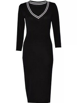 WOMEN V NECK PARTY EVENING BANDAGE BODYCON SEXY PENCIL CELEBRITY MIDI DRESS 8-14