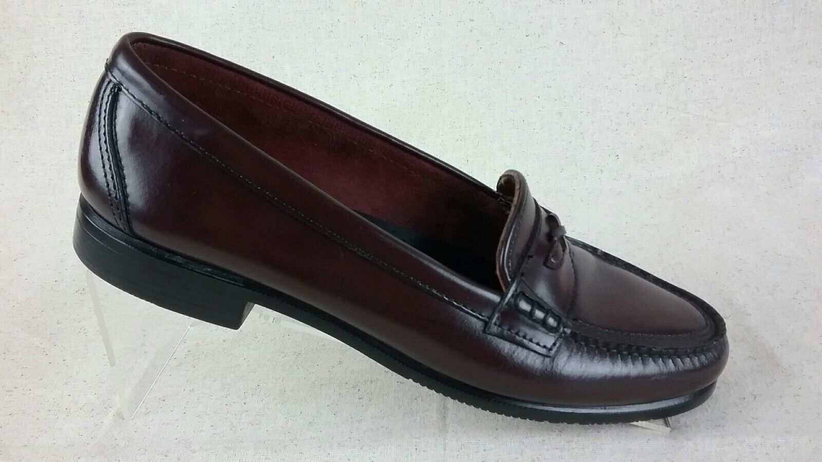 G H Bass Leather Oxblood Casual Loafers Slip On Womens 9 N Narrow shoes R5S4