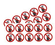 20 No Cell Phone Stickers 15 Dia White Bkg Outdoor Durable Business Sign